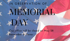 Office Closed on May 28th